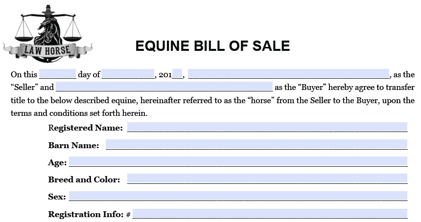 Horse Bill Of Sales  All About Horses