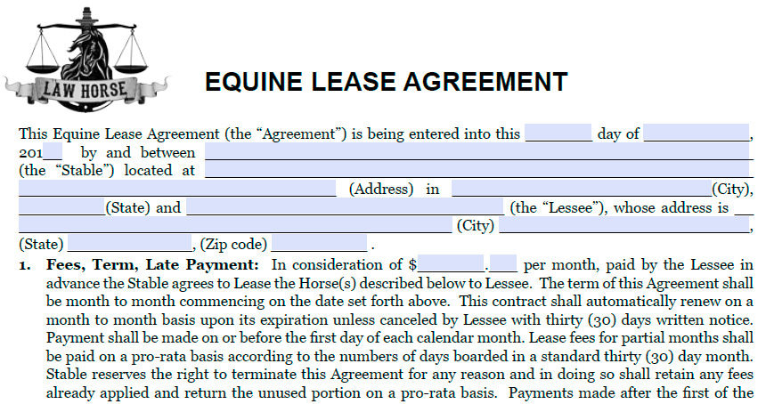 Equine Legal Documents To Download